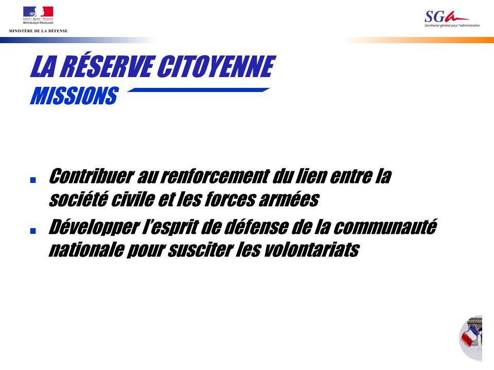 LA RÉSERVE CITOYENNE MISSIONS n Contribuer au renforcement du lien entre la société civile et les forces armées n Développer lesprit de défense de la communauté nationale pour susciter les volontariats