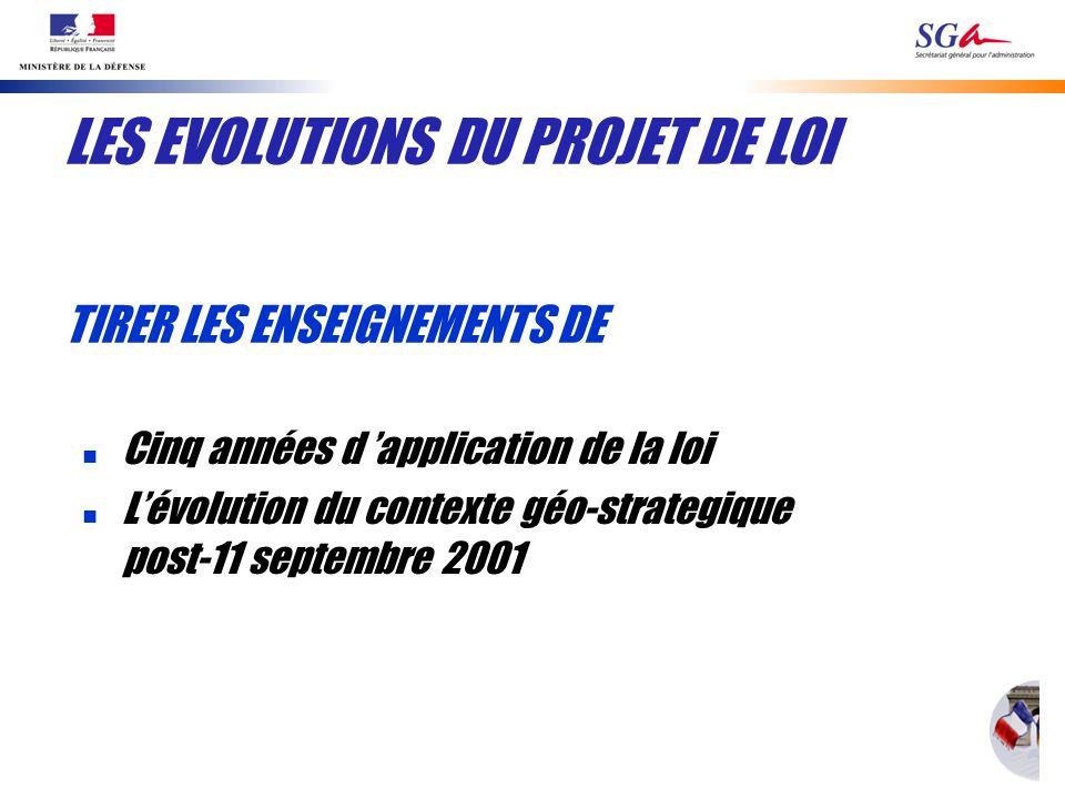 LES EVOLUTIONS DU PROJET DE LOI n Cinq années d application de la loi n Lévolution du contexte géo-strategique post-11 septembre 2001 TIRER LES ENSEIGNEMENTS DE