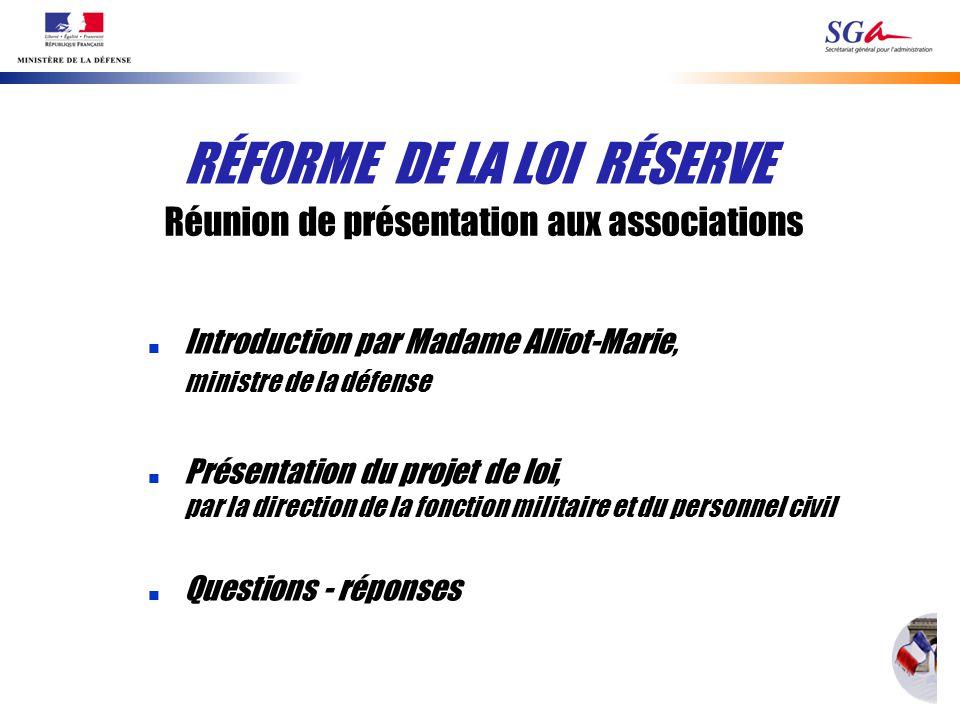 n Introduction par Madame Alliot-Marie, ministre de la défense n Présentation du projet de loi, par la direction de la fonction militaire et du person