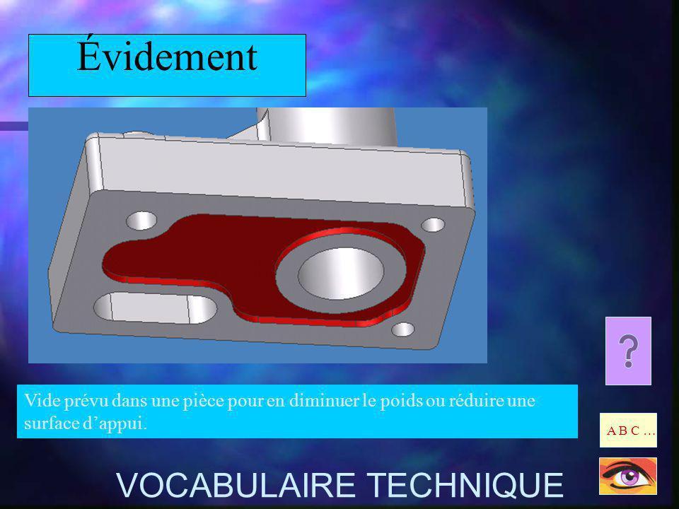 Évidement Vide prévu dans une pièce pour en diminuer le poids ou réduire une surface dappui. A B C … VOCABULAIRE TECHNIQUE