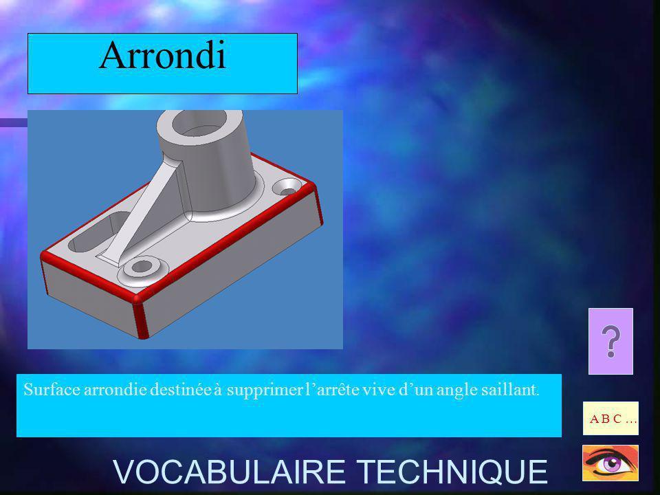 Arrondi Surface arrondie destinée à supprimer larrête vive dun angle saillant. A B C … VOCABULAIRE TECHNIQUE