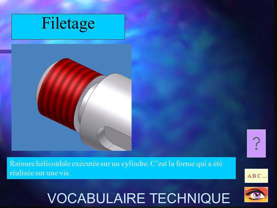 Filetage Rainure hélicoïdale exécutée sur un cylindre. Cest la forme qui a été réalisée sur une vis. A B C … VOCABULAIRE TECHNIQUE