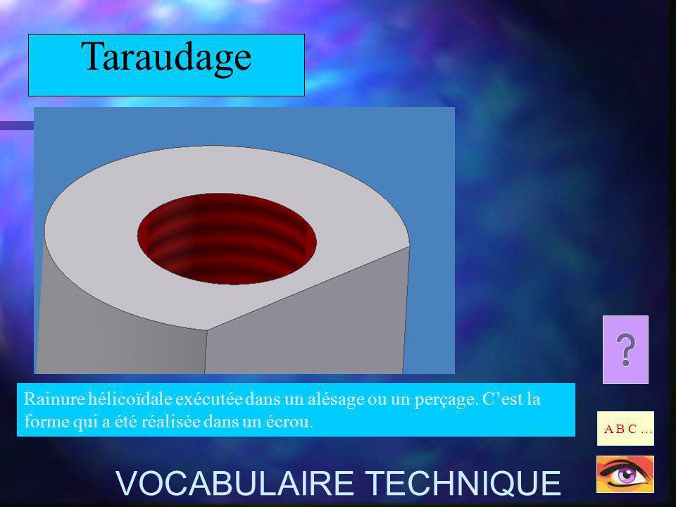 Taraudage Rainure hélicoïdale exécutée dans un alésage ou un perçage. Cest la forme qui a été réalisée dans un écrou. A B C … VOCABULAIRE TECHNIQUE
