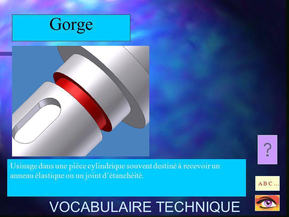 Gorge Usinage dans une pièce cylindrique souvent destiné à recevoir un anneau élastique ou un joint détanchéité. A B C … VOCABULAIRE TECHNIQUE