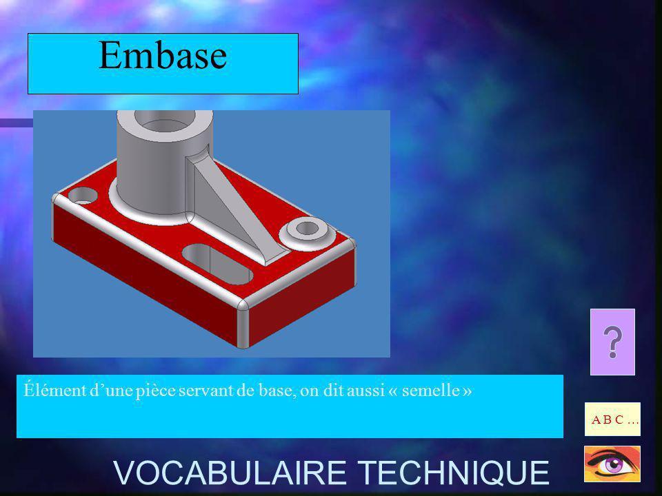 Embase Élément dune pièce servant de base, on dit aussi « semelle » A B C … VOCABULAIRE TECHNIQUE