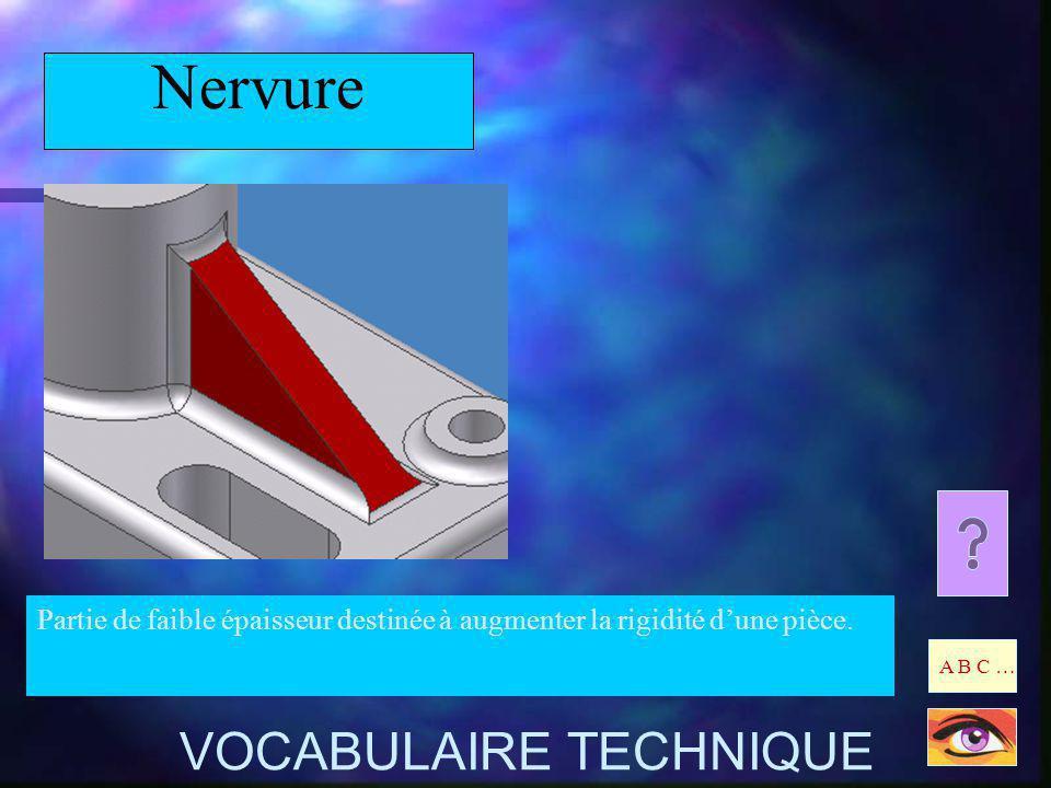 Nervure Partie de faible épaisseur destinée à augmenter la rigidité dune pièce. A B C … VOCABULAIRE TECHNIQUE