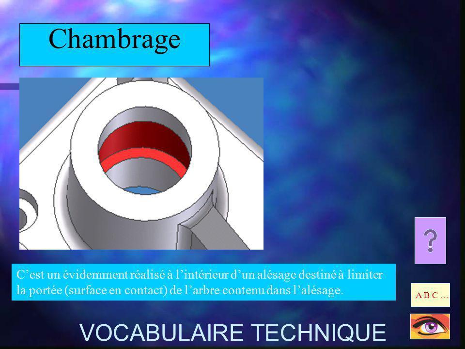 Chambrage Cest un évidemment réalisé à lintérieur dun alésage destiné à limiter la portée (surface en contact) de larbre contenu dans lalésage. A B C