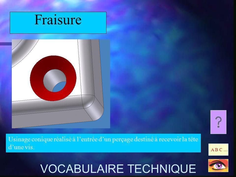 Fraisure Usinage conique réalisé à lentrée dun perçage destiné à recevoir la tête dune vis. A B C … VOCABULAIRE TECHNIQUE