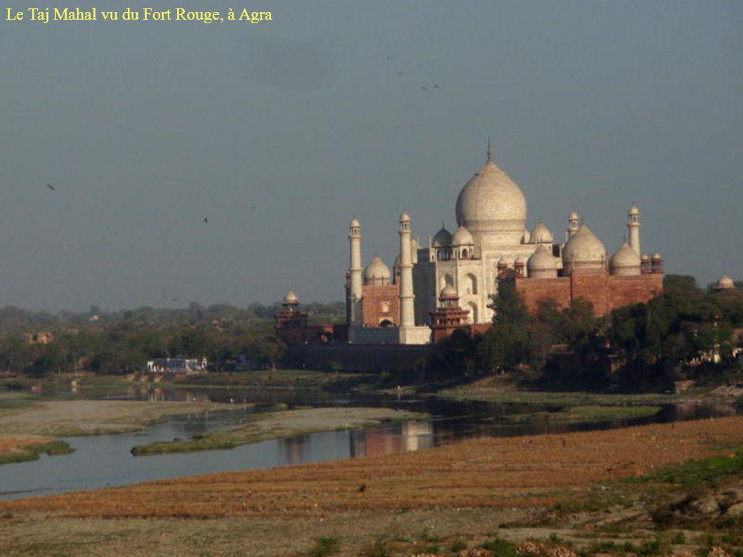 Le Taj Mahal vu du Fort Rouge, à Agra