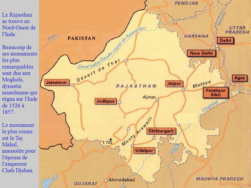 Le Rajasthan se trouve au Nord-Ouest de l'Inde. Beaucoup de ses monuments les plus remarquables sont dus aux Moghols, dynastie musulmane qui régna sur
