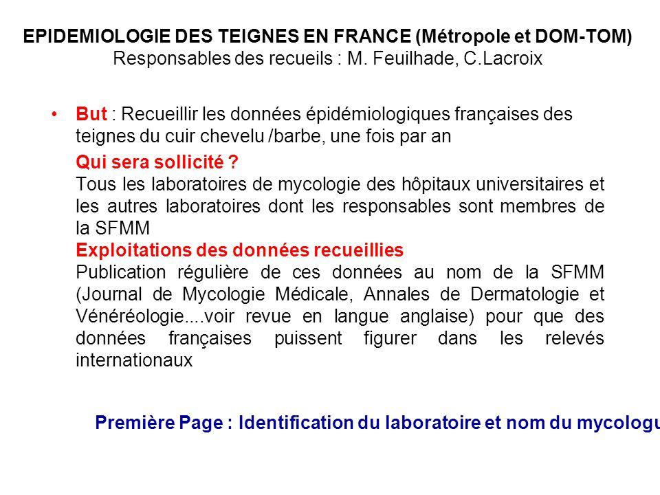 EPIDEMIOLOGIE DES TEIGNES EN FRANCE (Métropole et DOM-TOM) Responsables des recueils : M. Feuilhade, C.Lacroix But : Recueillir les données épidémiolo