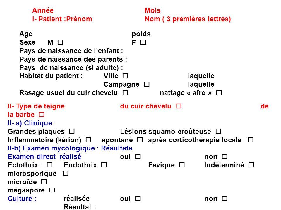 AnnéeMois I- Patient :Prénom Nom ( 3 premières lettres) Agepoids SexeM F Pays de naissance de lenfant : Pays de naissance des parents : Pays de naissa
