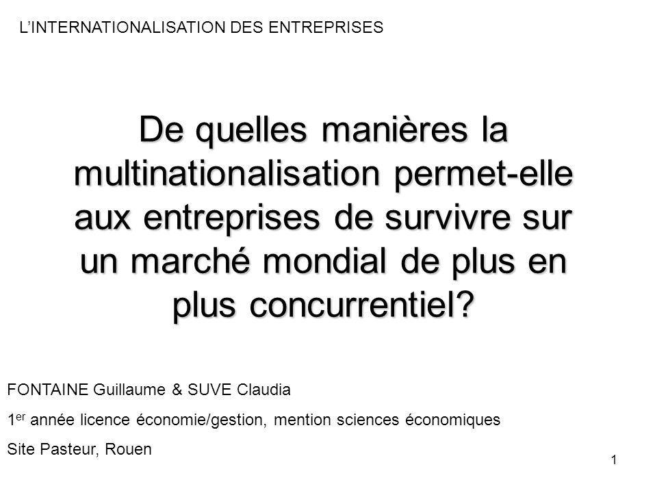 1 De quelles manières la multinationalisation permet-elle aux entreprises de survivre sur un marché mondial de plus en plus concurrentiel? LINTERNATIO