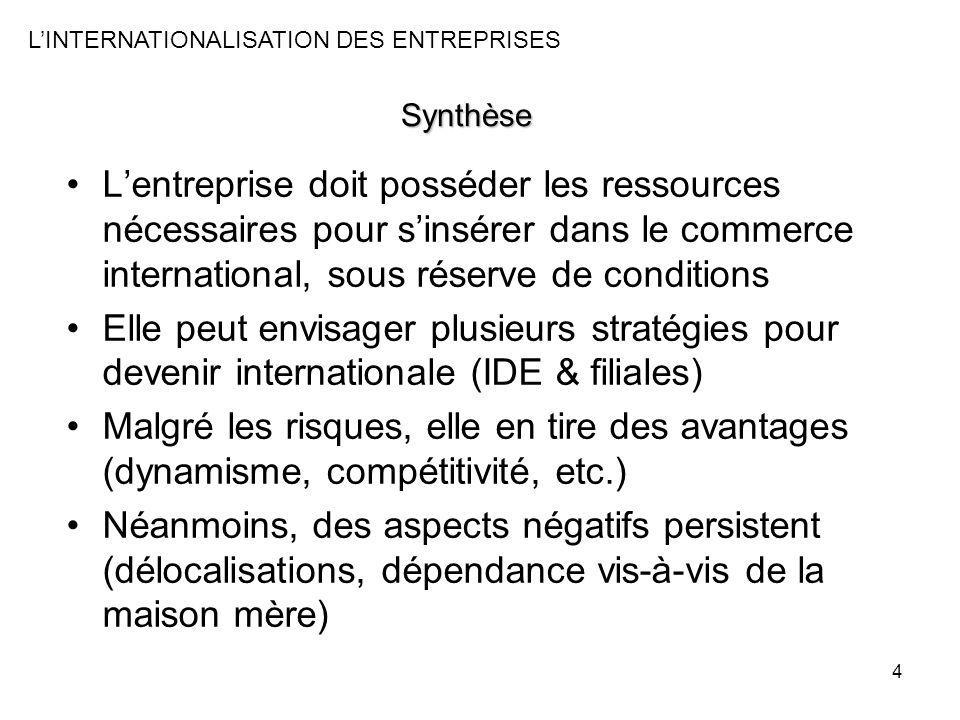 4 Synthèse Lentreprise doit posséder les ressources nécessaires pour sinsérer dans le commerce international, sous réserve de conditions Elle peut env