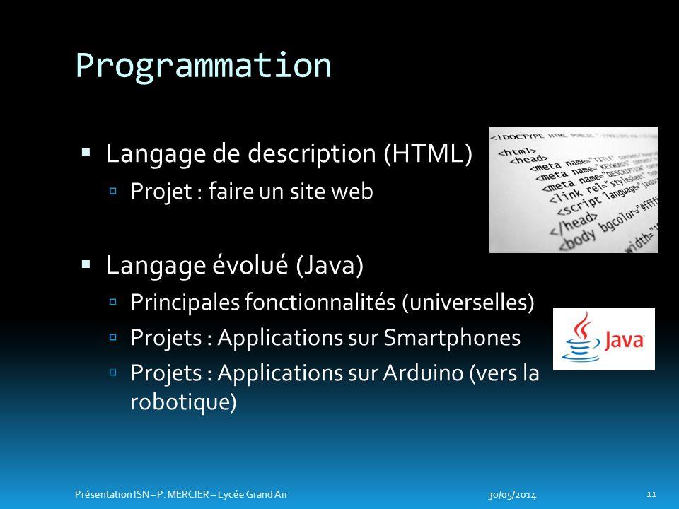 Langage de description (HTML) Projet : faire un site web Langage évolué (Java) Principales fonctionnalités (universelles) Projets : Applications sur S