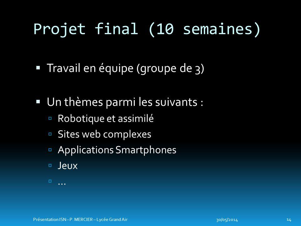 Travail en équipe (groupe de 3) Un thèmes parmi les suivants : Robotique et assimilé Sites web complexes Applications Smartphones Jeux … Projet final (10 semaines) 30/05/2014 14 Présentation ISN – P.