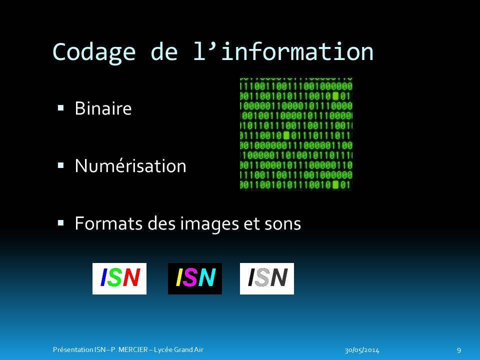 Binaire Numérisation Formats des images et sons Codage de linformation 30/05/2014 9 Présentation ISN – P. MERCIER – Lycée Grand Air