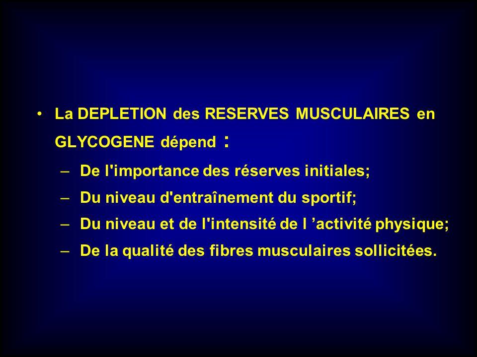 La DEPLETION des RESERVES MUSCULAIRES en GLYCOGENE dépend : – De l'importance des réserves initiales; – Du niveau d'entraînement du sportif; – Du nive