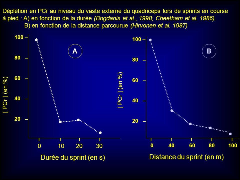 100 – 80 – 60 – 40 – 20 – I I I I 0 10 20 30 [ PCr ] (en %) I I I I I 0 40 60 80 100 AB Durée du sprint (en s) Distance du sprint (en m) Déplétion en