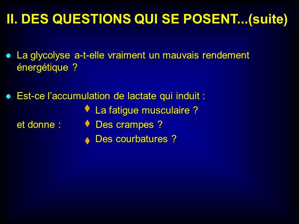 II. DES QUESTIONS QUI SE POSENT...(suite) lLlLlLlLa glycolyse a-t-elle vraiment un mauvais rendement énergétique ? lElElElEst-ce laccumulation de lact