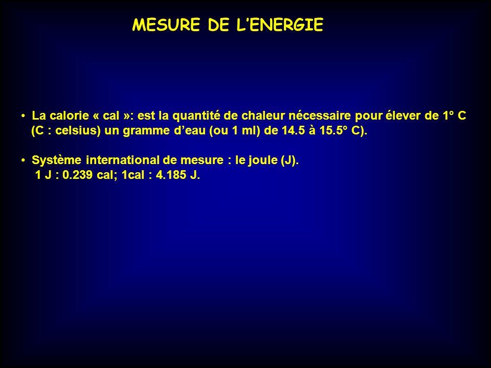 MESURE DE LENERGIE La calorie « cal »: est la quantité de chaleur nécessaire pour élever de 1° C (C : celsius) un gramme deau (ou 1 ml) de 14.5 à 15.5