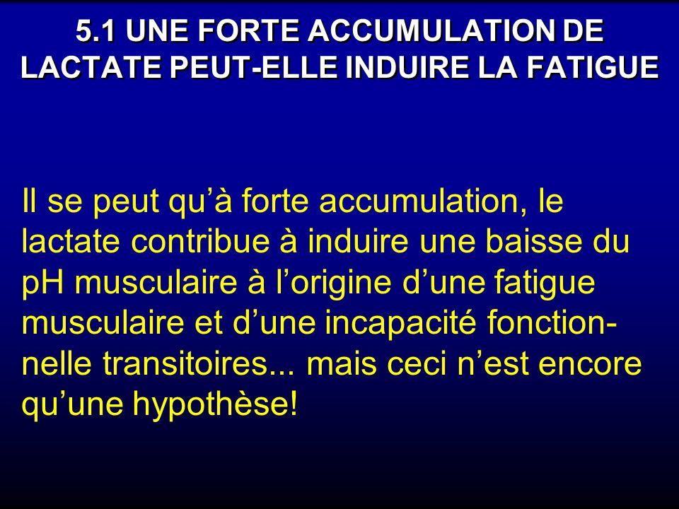 5.1 UNE FORTE ACCUMULATION DE LACTATE PEUT-ELLE INDUIRE LA FATIGUE Il se peut quà forte accumulation, le lactate contribue à induire une baisse du pH