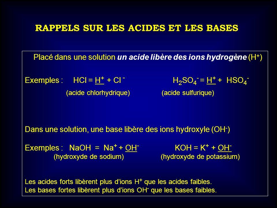 RAPPELS SUR LES ACIDES ET LES BASES Placé dans une solution un acide libère des ions hydrogène (H + ) Exemples : HCl = H + + Cl - H 2 SO 4 - = H + + H