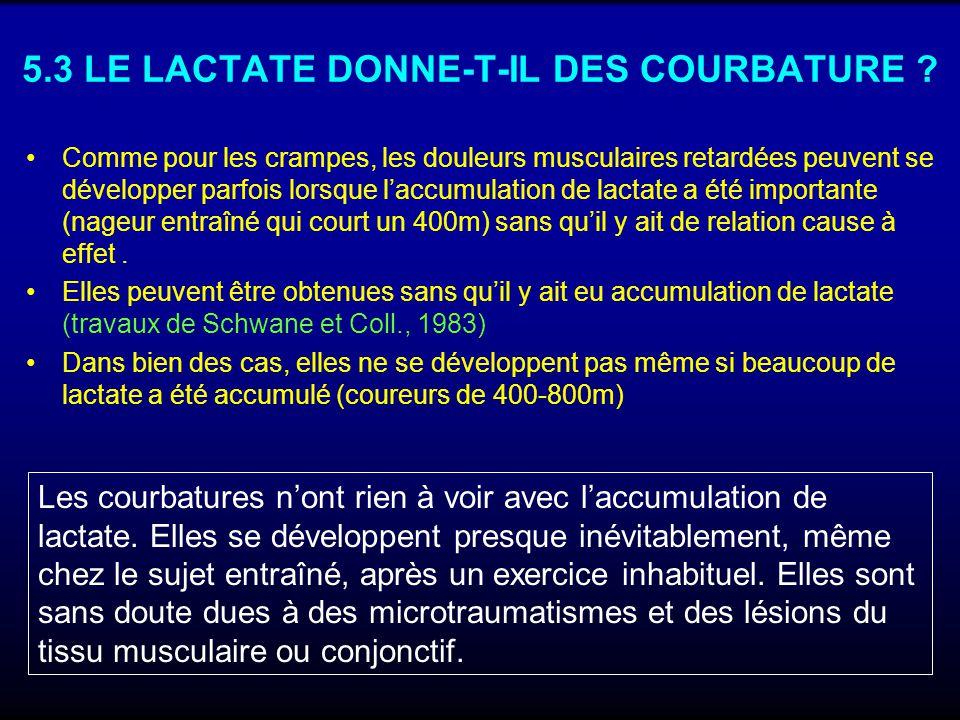5.3 LE LACTATE DONNE-T-IL DES COURBATURE ? Comme pour les crampes, les douleurs musculaires retardées peuvent se développer parfois lorsque laccumulat