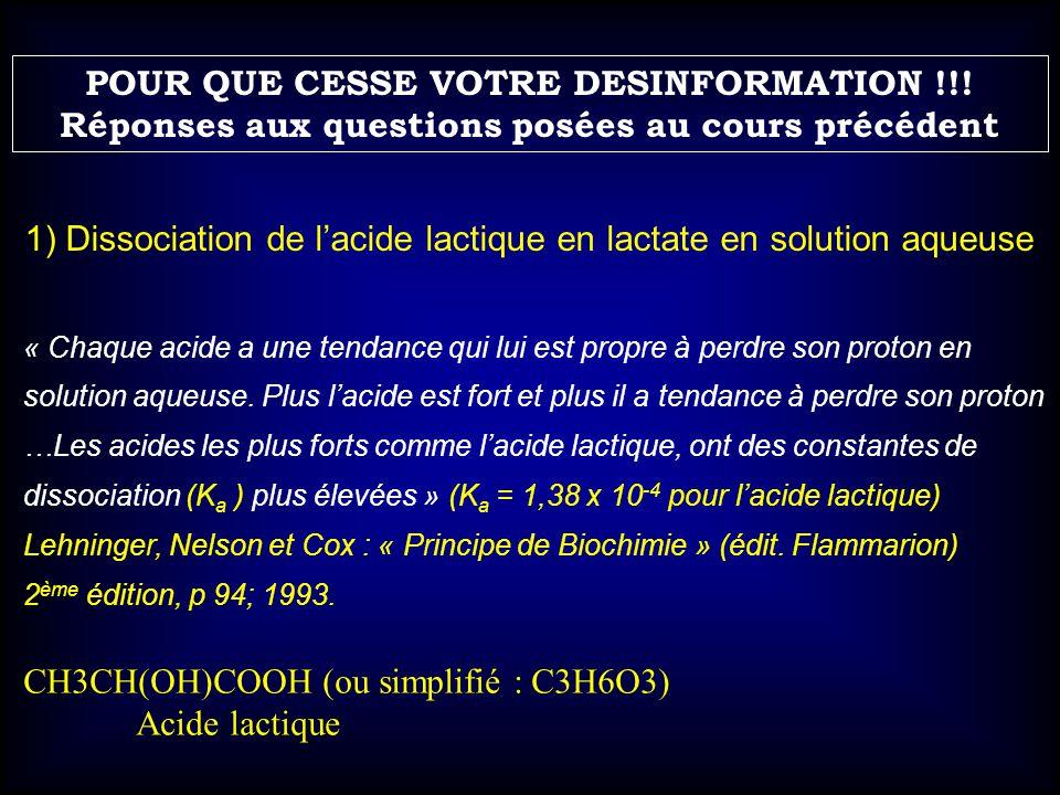 CH3CH(OH)COOH (ou simplifié : C3H6O3) Acide lactique 1) Dissociation de lacide lactique en lactate en solution aqueuse « Chaque acide a une tendance q