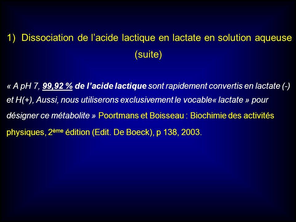 1)Dissociation de lacide lactique en lactate en solution aqueuse (suite) « A pH 7, 99,92 % de lacide lactique sont rapidement convertis en lactate (-)