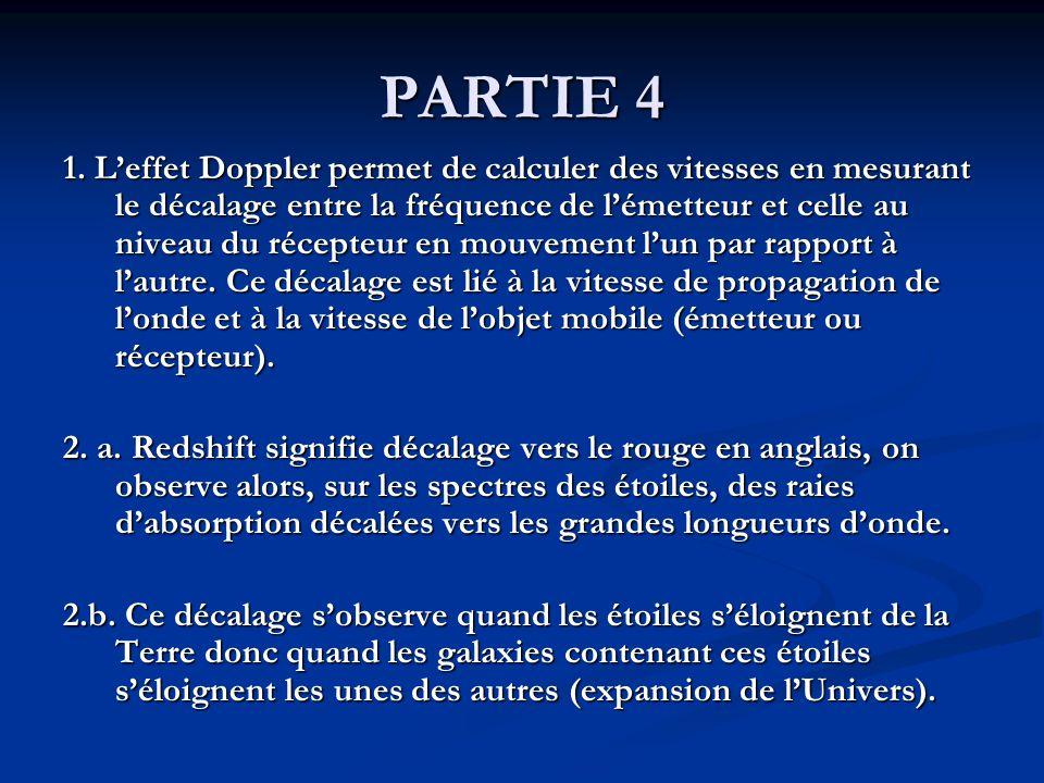 PARTIE 4 1. Leffet Doppler permet de calculer des vitesses en mesurant le décalage entre la fréquence de lémetteur et celle au niveau du récepteur en