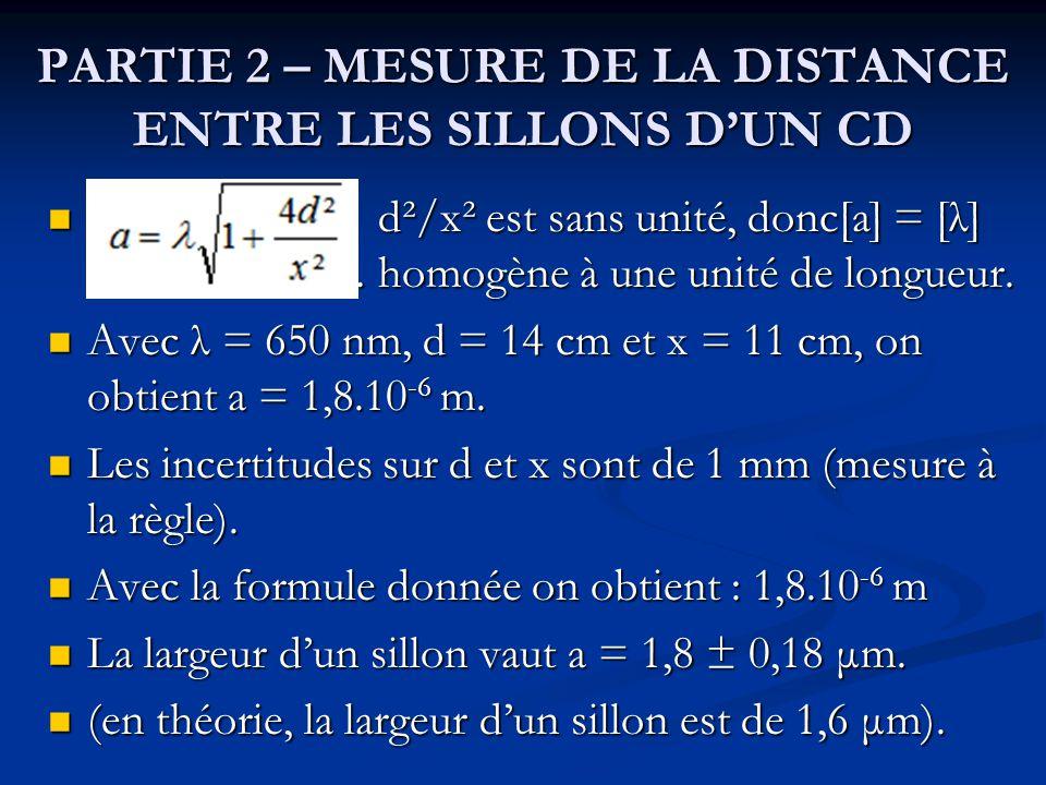 PARTIE 2 – MESURE DE LA DISTANCE ENTRE LES SILLONS DUN CD d²/x² est sans unité, donc[a] = [λ] ……………… homogène à une unité de longueur. d²/x² est sans