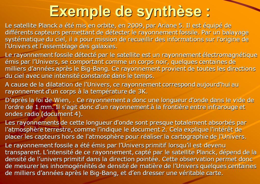 Exemple de synthèse : Le satellite Planck a été mis en orbite, en 2009, par Ariane 5. Il est équipé de différents capteurs permettant de détecter le r