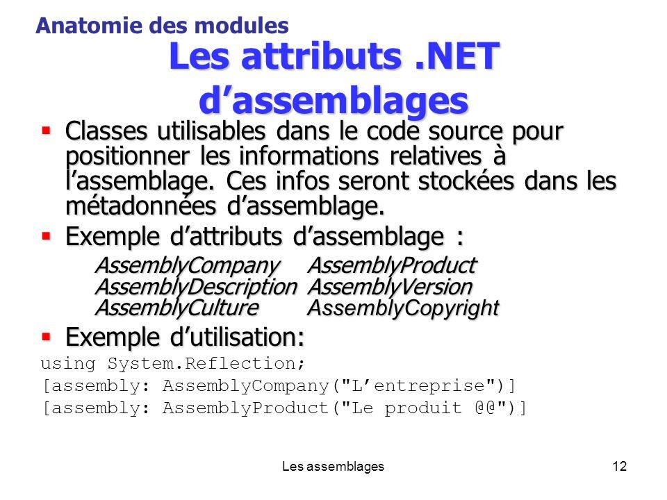 Les assemblages12 Les attributs.NET dassemblages Classes utilisables dans le code source pour positionner les informations relatives à lassemblage. Ce