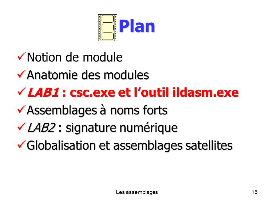 Les assemblages15 Plan Notion de module Anatomie des modules Anatomie des modules LAB1 : csc.exe et loutil ildasm.exe LAB1 : csc.exe et loutil ildasm.