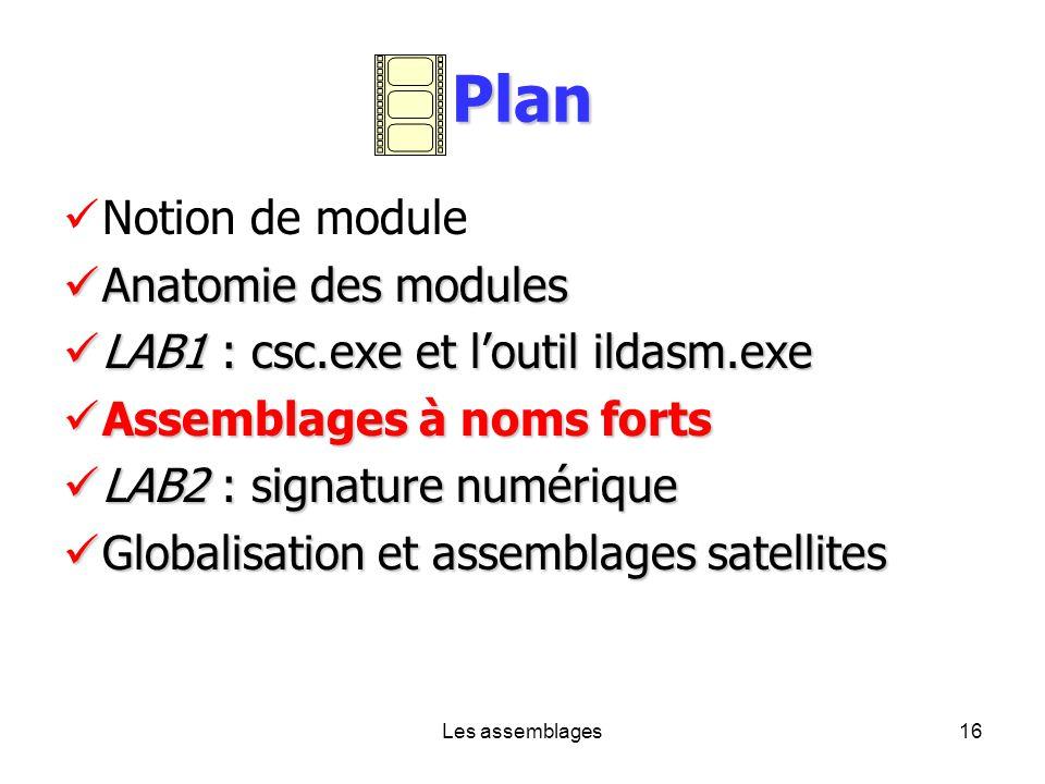 Les assemblages16 Plan Notion de module Anatomie des modules Anatomie des modules LAB1 : csc.exe et loutil ildasm.exe LAB1 : csc.exe et loutil ildasm.
