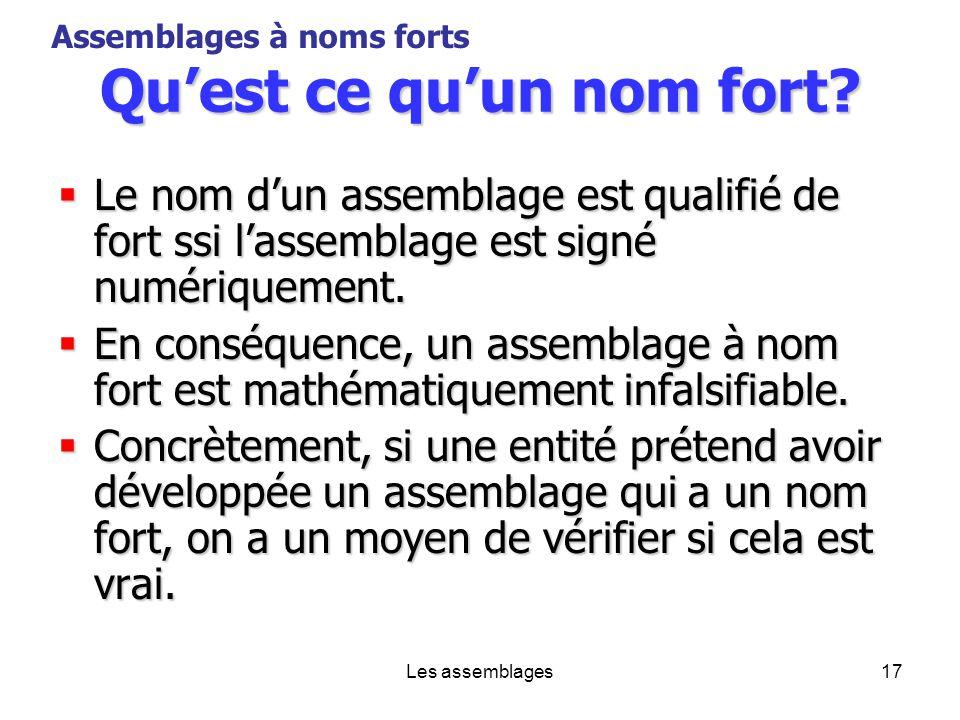 Les assemblages17 Quest ce quun nom fort? Le nom dun assemblage est qualifié de fort ssi lassemblage est signé numériquement. Le nom dun assemblage es