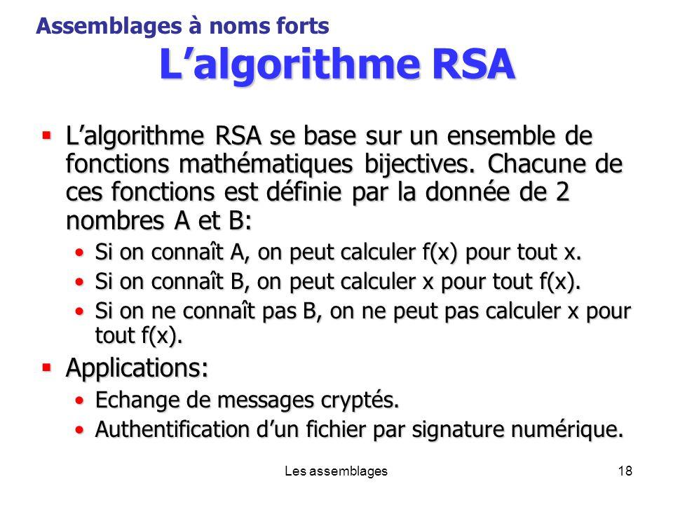 Les assemblages18 Lalgorithme RSA Lalgorithme RSA se base sur un ensemble de fonctions mathématiques bijectives. Chacune de ces fonctions est définie