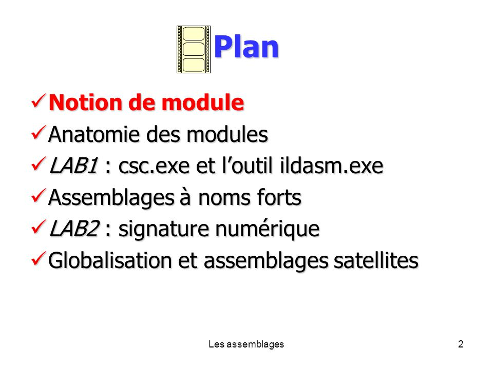 Les assemblages2 Plan Notion de module Notion de module Anatomie des modules Anatomie des modules LAB1 : csc.exe et loutil ildasm.exe LAB1 : csc.exe e