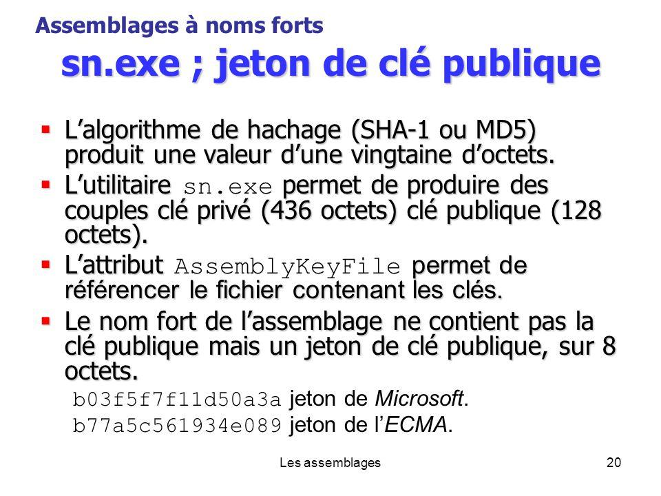 Les assemblages20 sn.exe ; jeton de clé publique Lalgorithme de hachage (SHA-1 ou MD5) produit une valeur dune vingtaine doctets. Lalgorithme de hacha