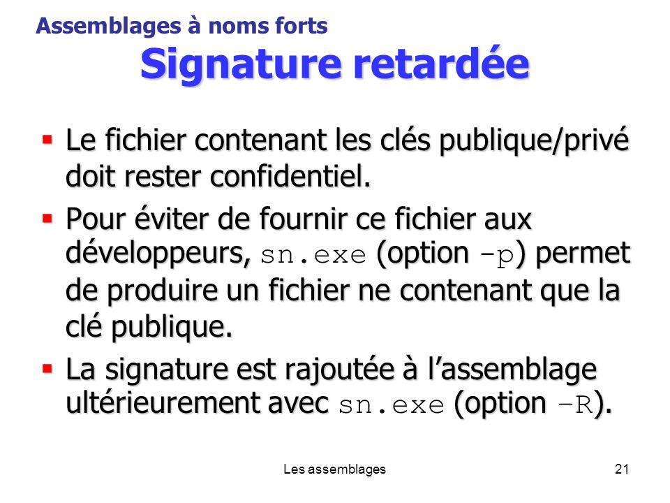 Les assemblages21 Signature retardée Le fichier contenant les clés publique/privé doit rester confidentiel. Le fichier contenant les clés publique/pri