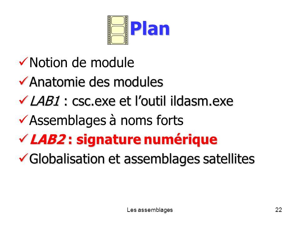 Les assemblages22 Plan Notion de module Anatomie des modules Anatomie des modules LAB1 : csc.exe et loutil ildasm.exe LAB1 : csc.exe et loutil ildasm.