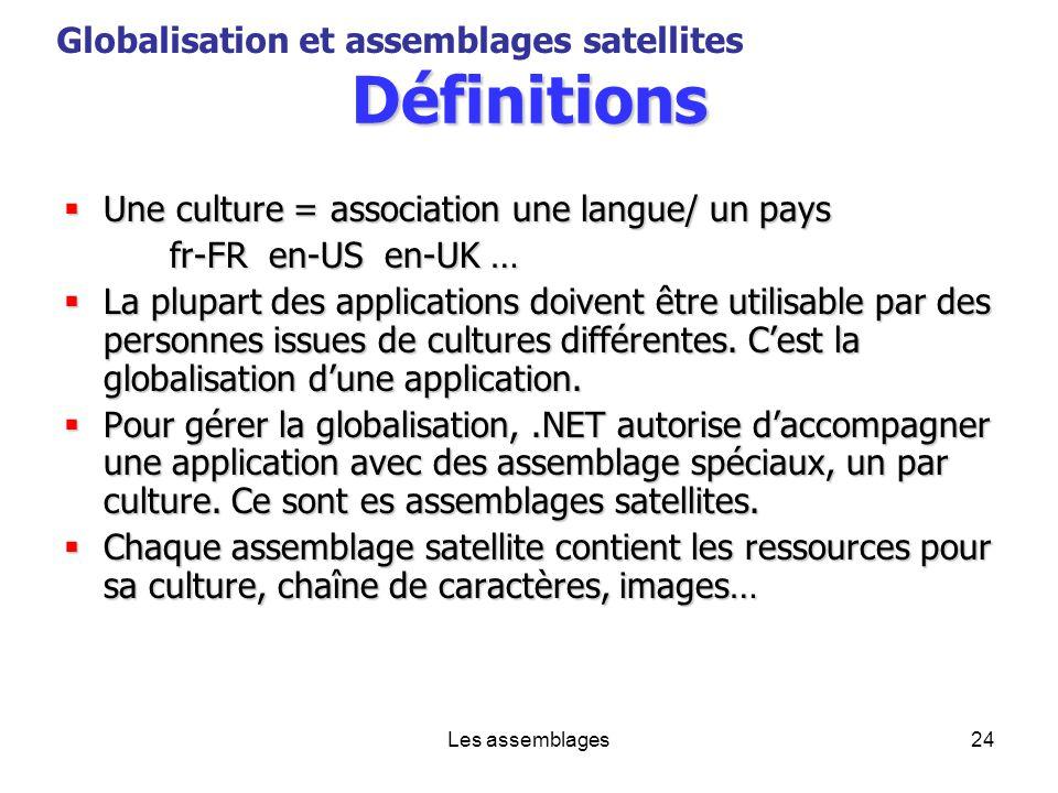 Les assemblages24 Définitions Une culture = association une langue/ un pays Une culture = association une langue/ un pays fr-FR en-US en-UK … La plupa