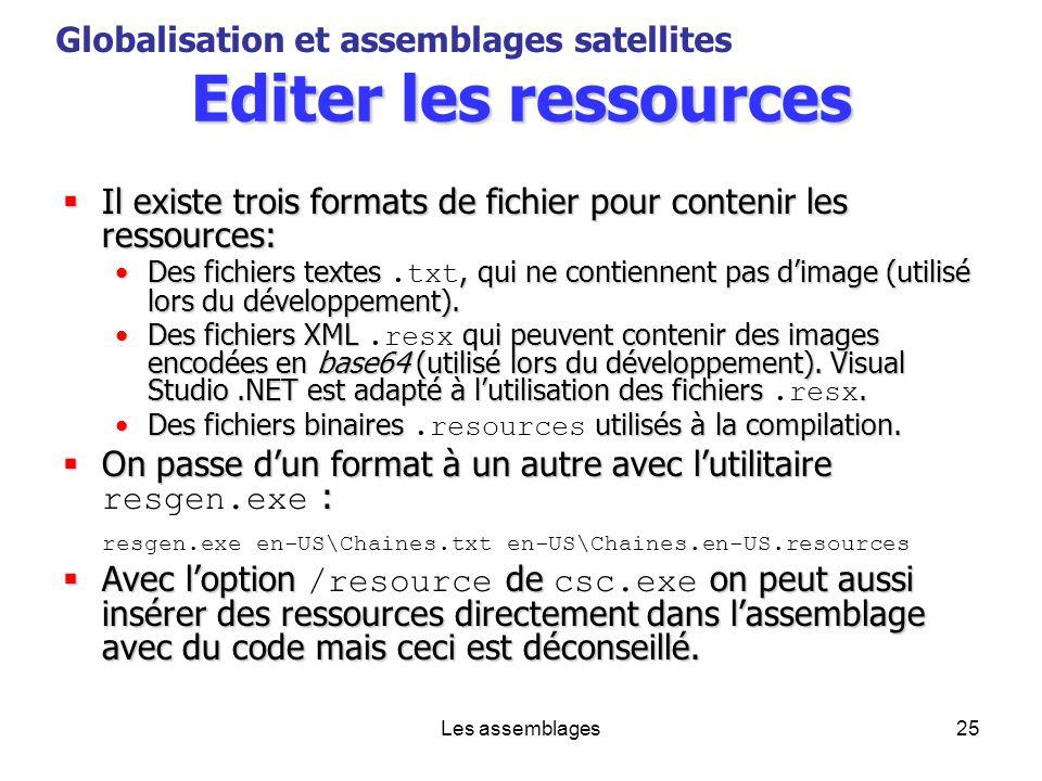 Les assemblages25 Editer les ressources Il existe trois formats de fichier pour contenir les ressources: Il existe trois formats de fichier pour conte