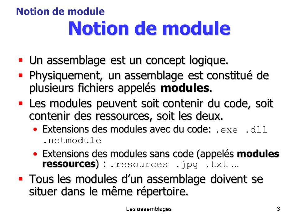 Les assemblages3 Notion de module Un assemblage est un concept logique. Un assemblage est un concept logique. Physiquement, un assemblage est constitu