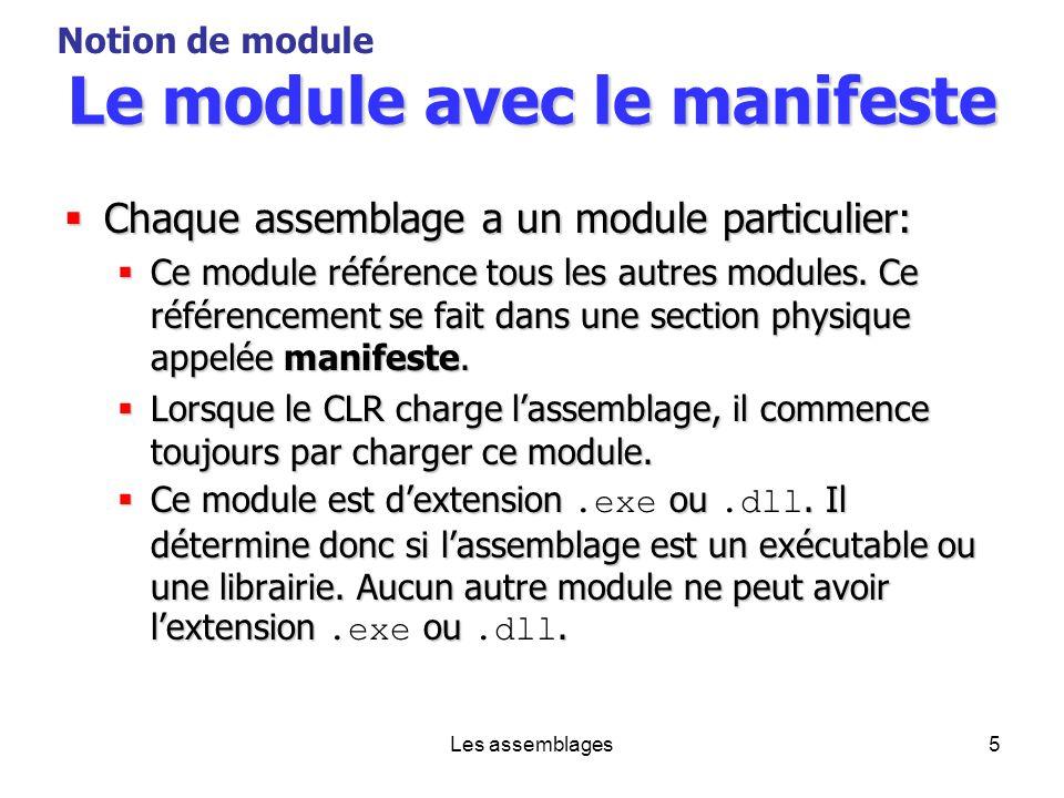 Les assemblages5 Le module avec le manifeste Chaque assemblage a un module particulier: Chaque assemblage a un module particulier: Ce module référence