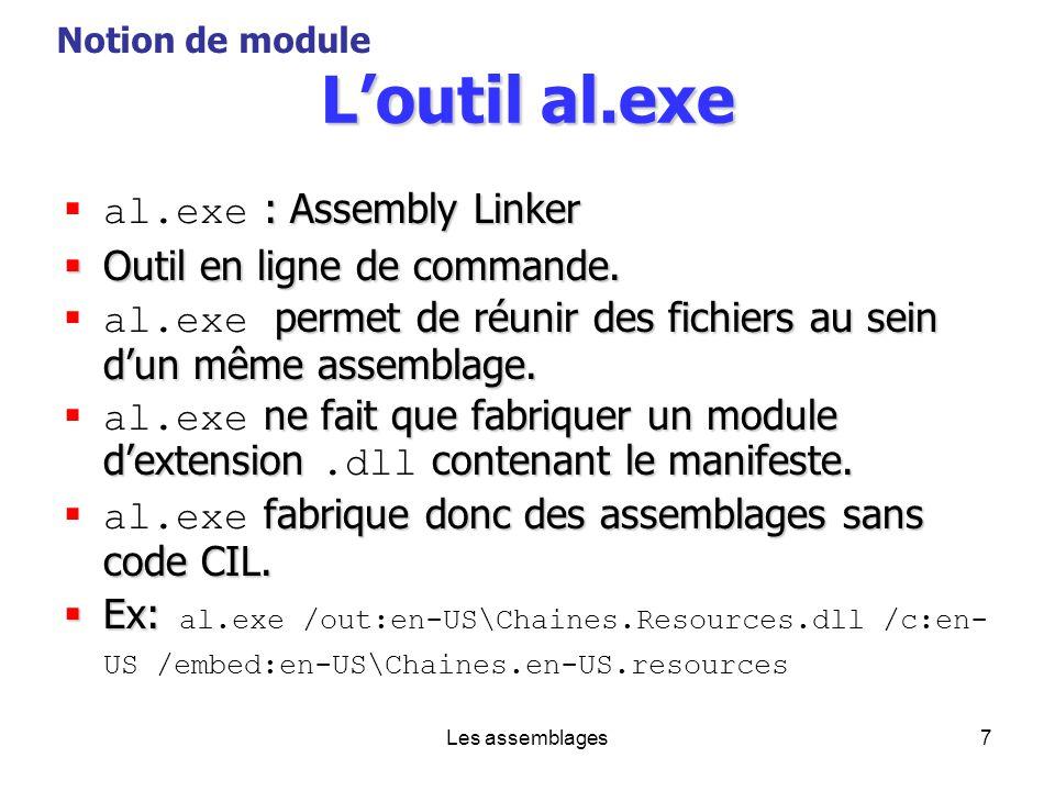 Les assemblages7 Loutil al.exe : Assembly Linker al.exe : Assembly Linker Outil en ligne de commande. Outil en ligne de commande. permet de réunir des