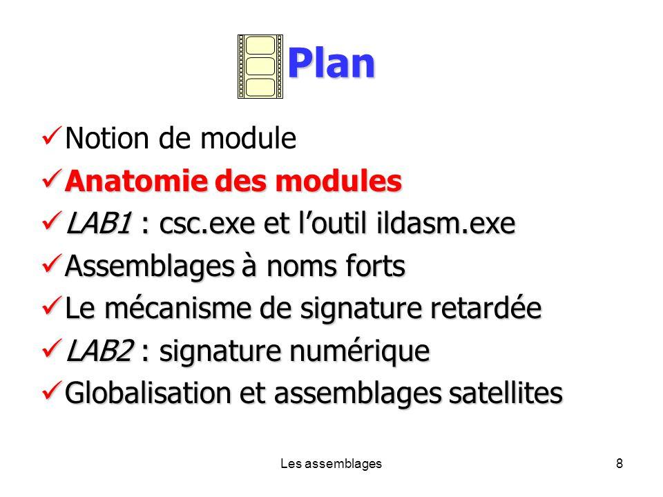 Les assemblages8 Plan Notion de module Anatomie des modules Anatomie des modules LAB1 : csc.exe et loutil ildasm.exe LAB1 : csc.exe et loutil ildasm.e