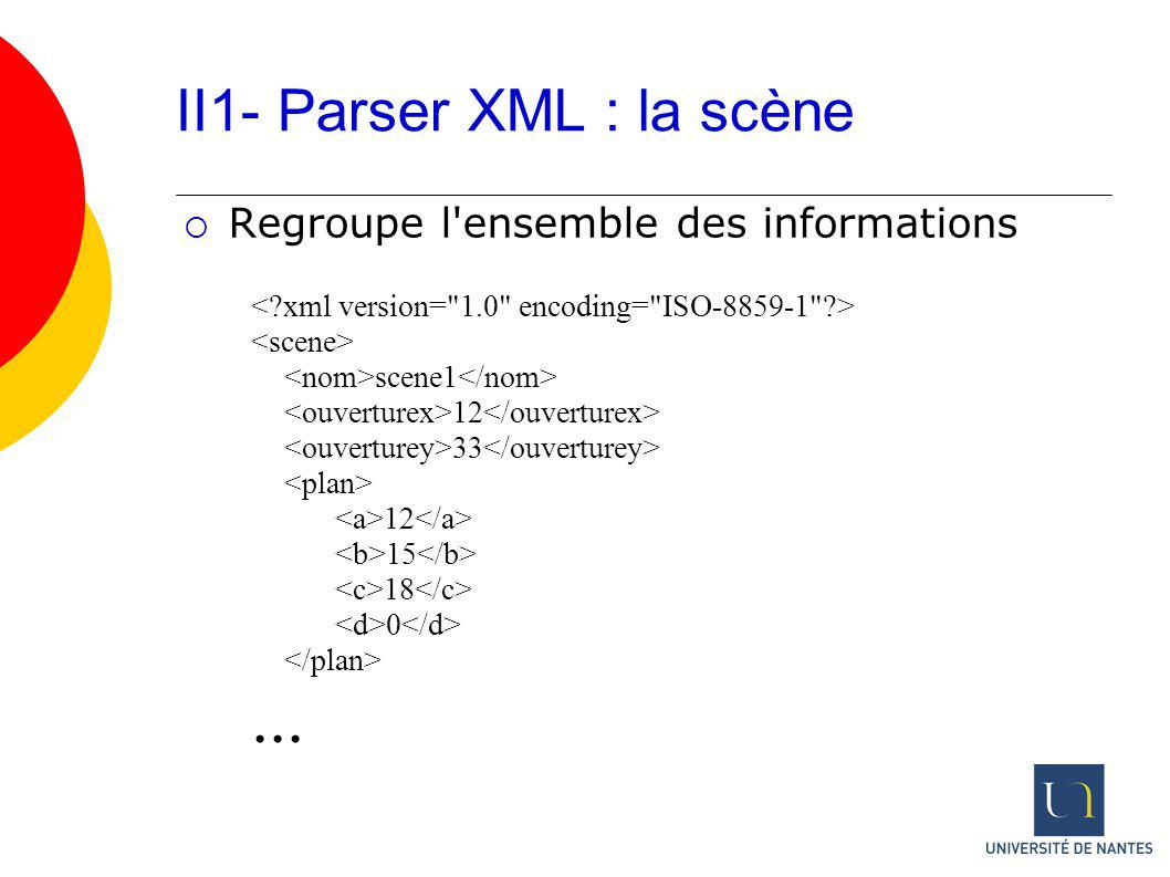 II1- Parser XML : la scène scene1 12 33 12 15 18 0... Regroupe l'ensemble des informations