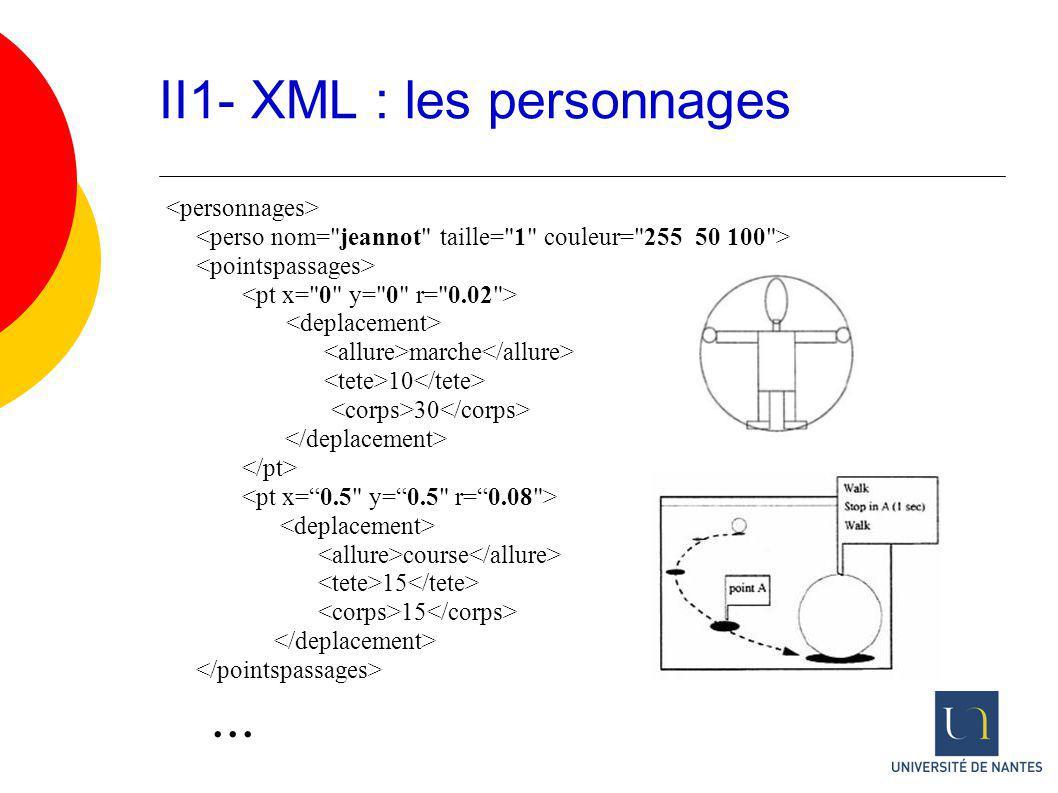 II1- XML : les personnages marche 10 30 course 15...